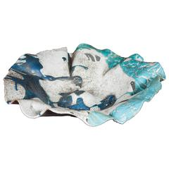 Contemporary Ceramic Sardinian Raku Bowl blue, grey, green, turquoise