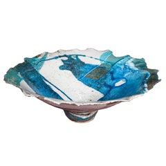 Contemporary Ceramic Sardinian Raku Bowl blue, grey, green, turquoise, black