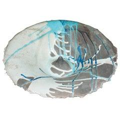 Contemporary Circular Ceramic Sardinian Raku Bowl blue, grey, green, black