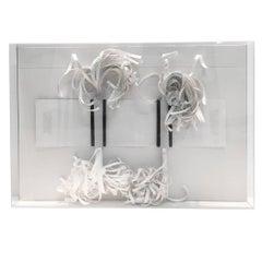 Sculptural Paper Tassel Artwork by Greg Copland Incased in Lucite Box