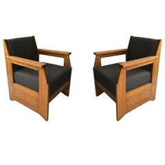 Pair of Oak Armchairs Made by Hendrik Wouda, Produced by Pander & Son