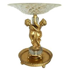 Wonderful French Antique Baccarat Crystal Gilt Bronze Centerpiece
