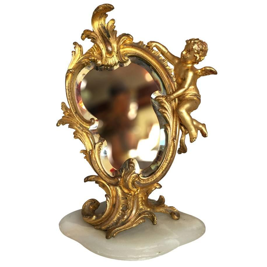 Antique Gold Gilded Bronze French Vanity Mirror For Sale