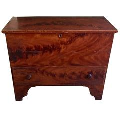 Late 18th Century New England Grain Painted Pine One-Drawer Blanket Chest