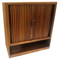 American Mid-Century Modern Solid Walnut Tambour Door Media Cabinet