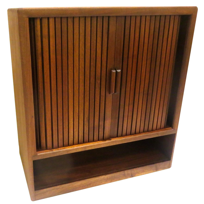 Solid Wood Kitchen Walnut Cabinets: American Mid-Century Modern Solid Walnut Tambour Door