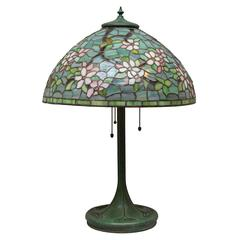 """Full Floral """"Apple Blossom"""" Leaded Glass Table Lamp by Unique Art Glass Co"""