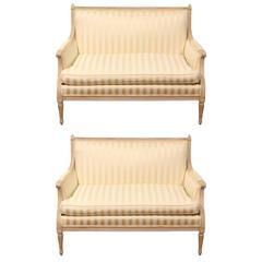 Fine Pair of Mid-Century Louis XVI Style Loveseats