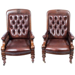 19th Century Pair of English Victorian Leather Armchairs