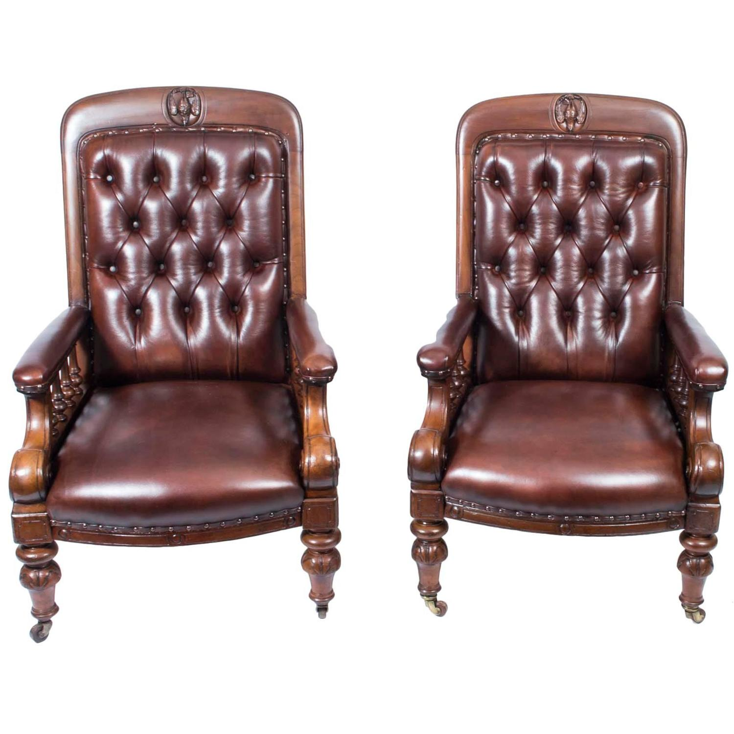 Antique leather armchair - Antique Pair Of English Victorian Leather Armchairs Circa 1880