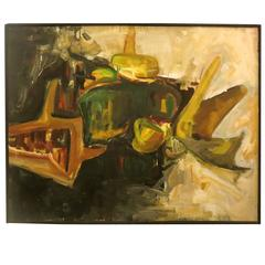 1960s Large Abstract Oil on Canvas by Lawrence Lee