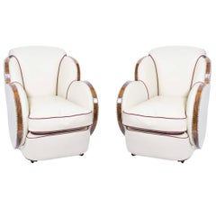 1930s Pair of White Leather Art Deco Cloud Armchairs