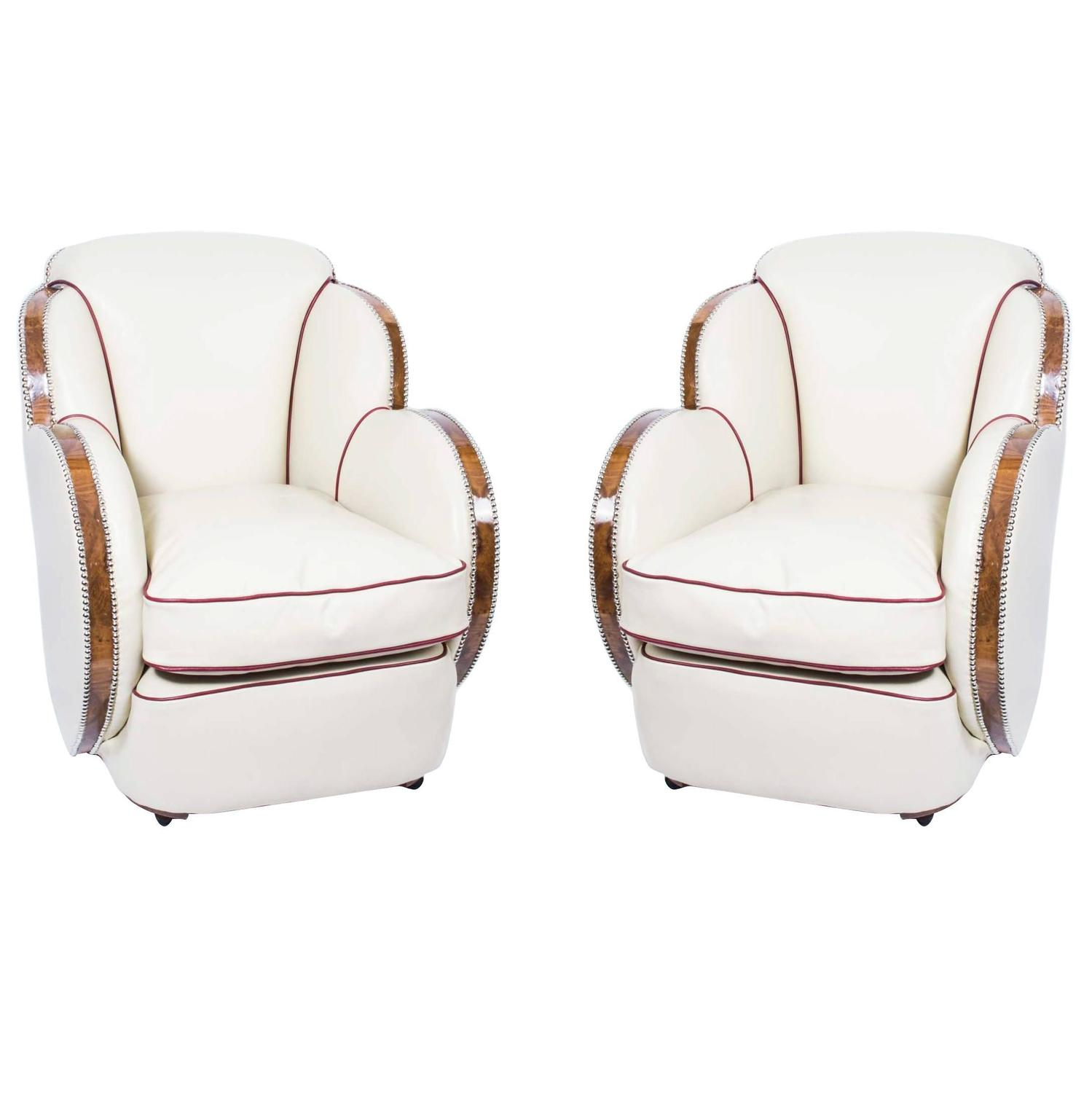 Art deco vintage leather sofa armchair - Antique Pair Of White Leather Art Deco Cloud Armchairs Circa 1930 For Sale At 1stdibs