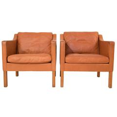 Pair of Leather Club Chairs by Børge Mogensen