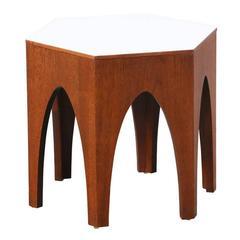 Harvey Probber Hexagonal Walnut Side Table