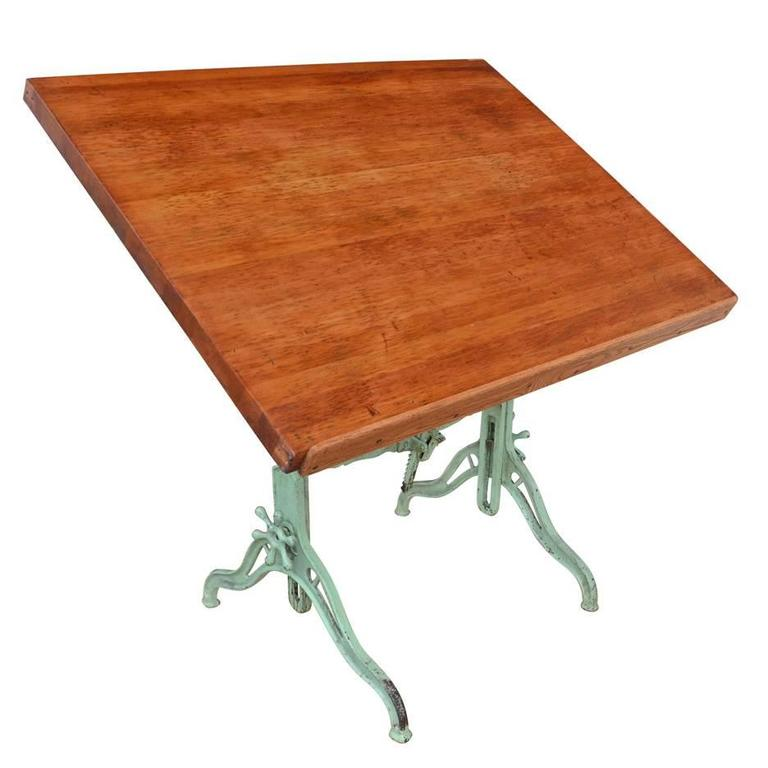 Large Cast Iron Drafting Table By C.F. Pease, Circa 1894 1