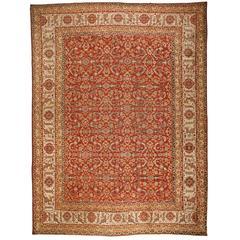 Antique Mid-19th Century Oversize Indian Agra Mirzapour Carpet