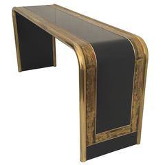 Bernhard Rohne Acid Etched Brass Console Table for Mastercraft