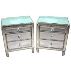 Pair of Art Deco Style Mirrored Bedside Tables Chests