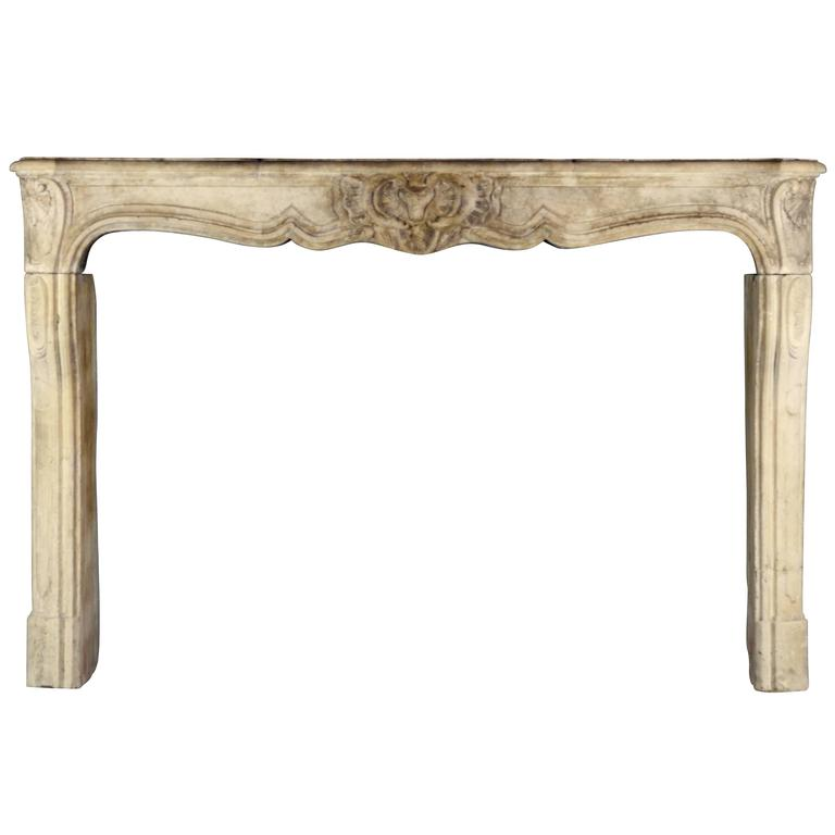 18th Century Original French Country Limestone Mantel
