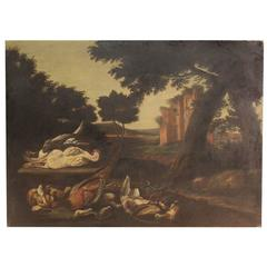 18th Century Painting Oil on Canvas Landscape with Ruins