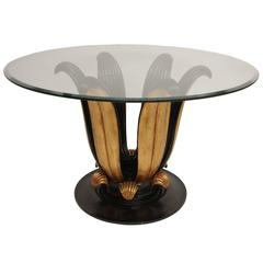 Large Pedestal Table in Black Lacquer and Giltwood with Round Glass Top
