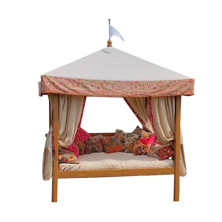 Daybed in Oak with Canvas and Heritage Fabric Canopy by Sunbeam Jackie For Sale