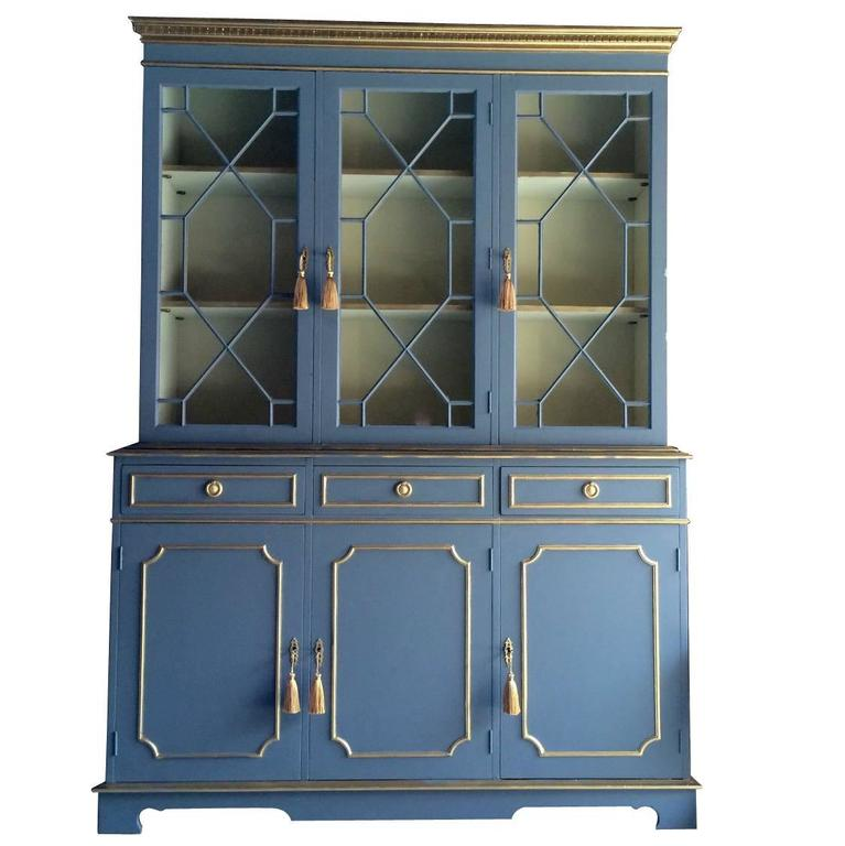 Antique Style Bookcase Display Cabinet Breakfront French Painted Mahogany 1 - Antique Style Bookcase Display Cabinet Breakfront French Painted