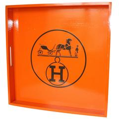 Hermes Inspired Orange Equestrian Square Tray