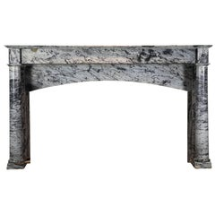 19th Century French Bleu Turquin Marble Antique Fireplace Mantle