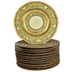 Set of Twelve Ornate Gilt Service Dinner Plates