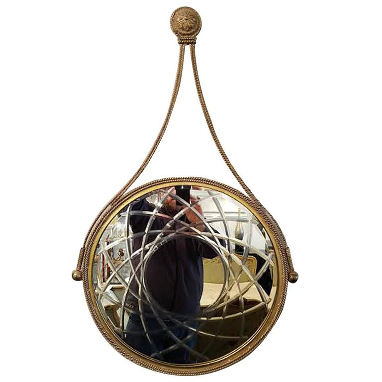 Round Gilded Iron Designer Mirror