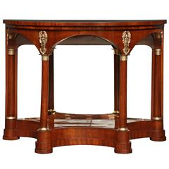 French 19th Century Neoclassical Style Mahogany Demilune Console
