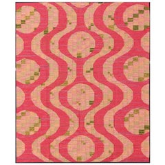 Scandinavian Design Flat-Weave Rug in Red, Salmon, Pink and Green