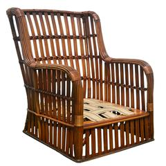 Antique Stick Wicker Armchair