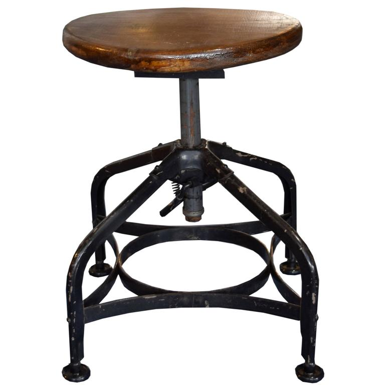Iron And Wood Toledo Stool At 1stdibs