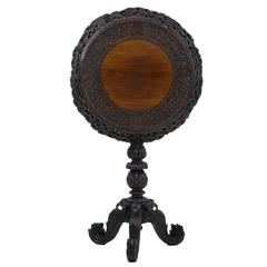 19th Century Carved Hardwood Ceylonese Flip-Top Tripod Table