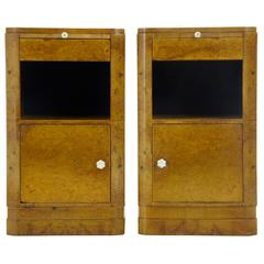 Pair of 20th Century Art Deco Walnut Bedside Cabinets