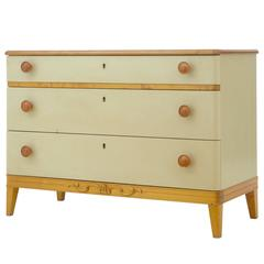 1960s Art Deco Inspired Painted Elm Chest of Drawers Commode