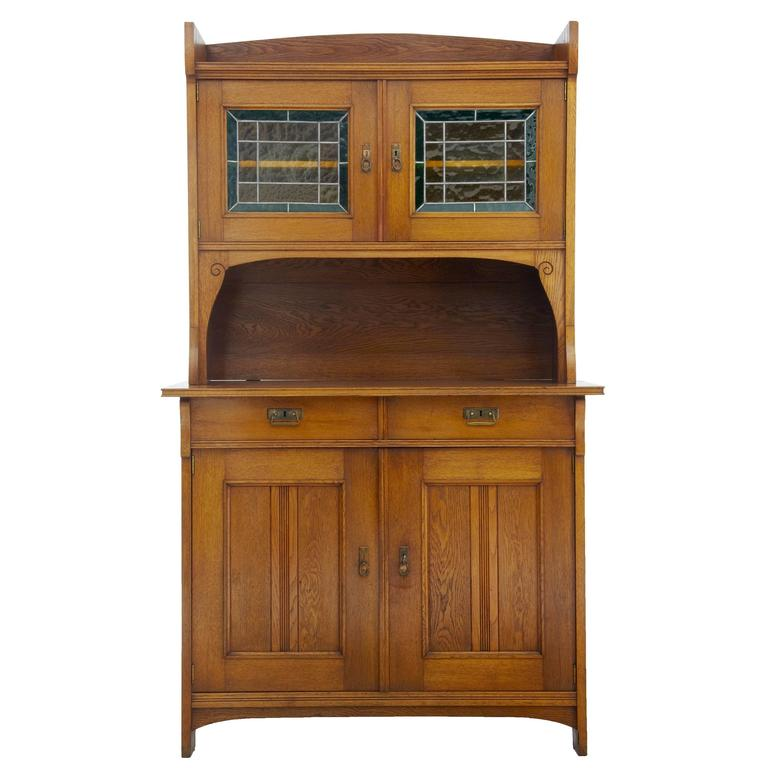Late 19th century oak arts and crafts cabinet cupboard at for Arts and crafts storage cabinet