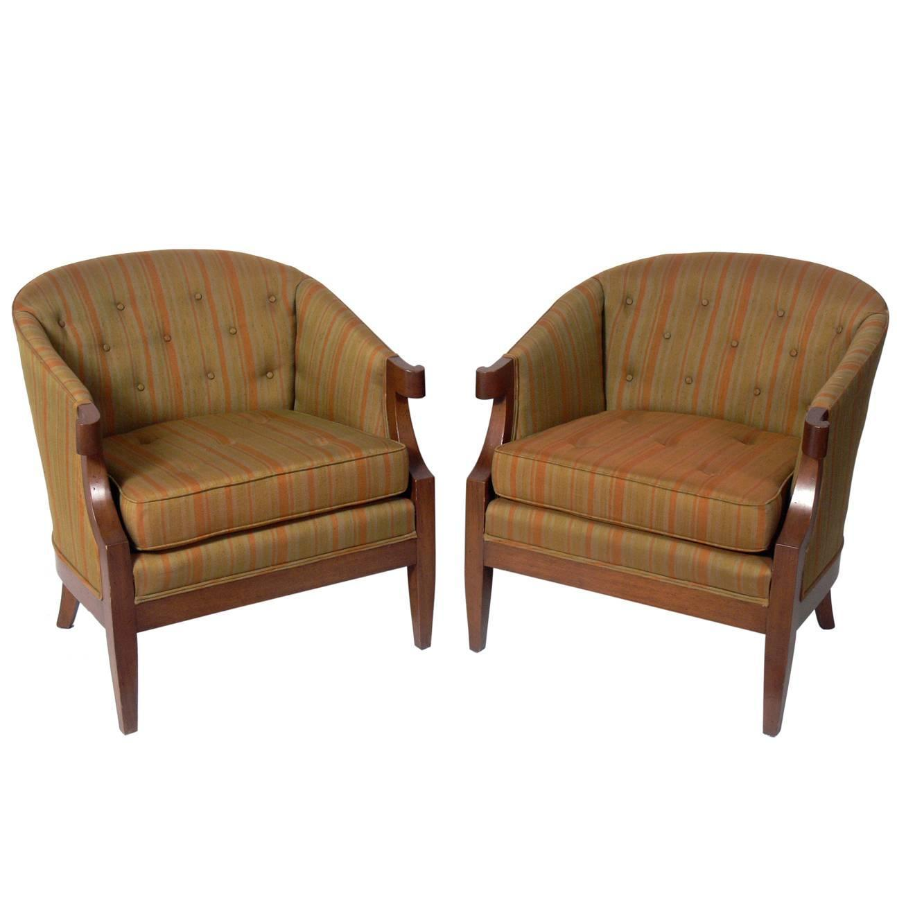 Pair Of Glamorous Lounge Chairs By Henredon For Sale At