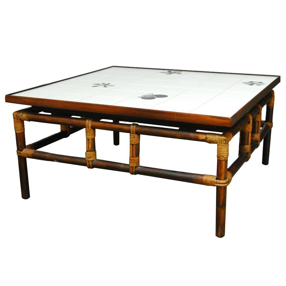 Ficks Reed Tile And Bamboo Coffee Table For Sale At 1stdibs