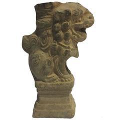 Brick Foo Dog Candleholder, 18th Century