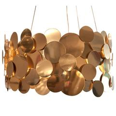 Polished Brass Metal Disc Chandelier