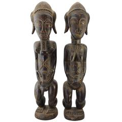 20th Century Large Baule Cote D'Ivoire Male and Female Figures