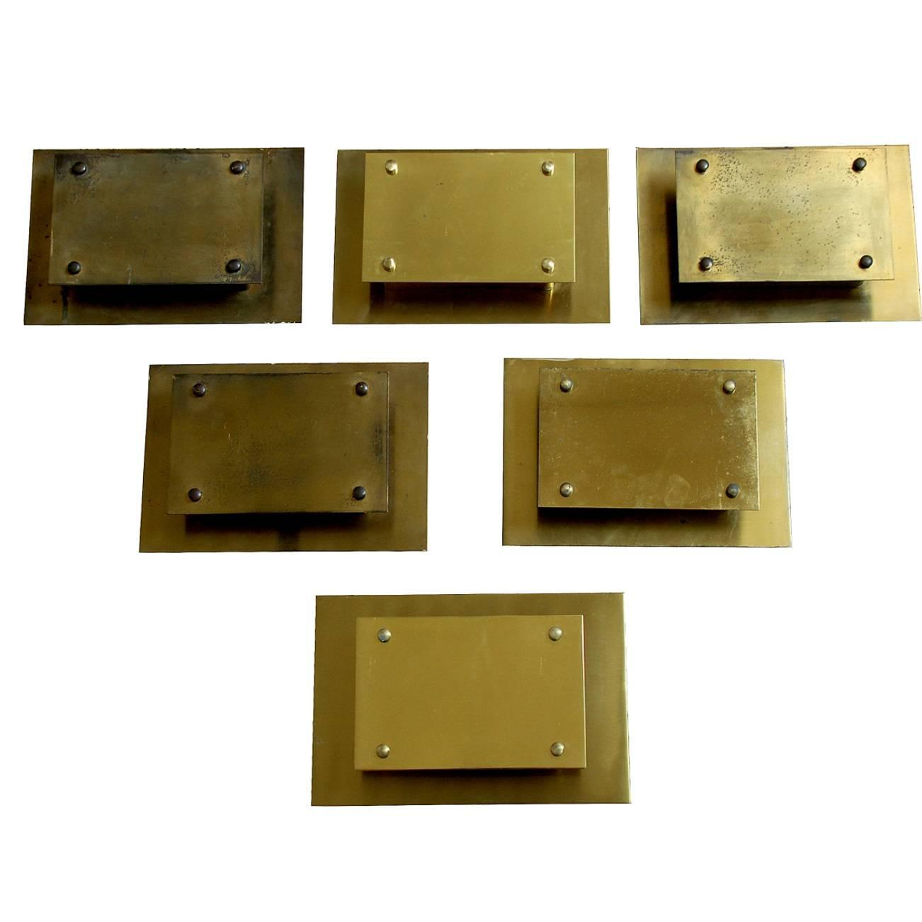 Wall Light Switch Remote Control : Modernist Rectangular Wall Lights in Solid Brass, Set of Six at 1stdibs