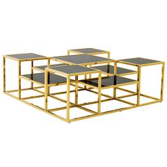 Square Tops Coffee Table in Gold Finish with Smoked Glass Tops