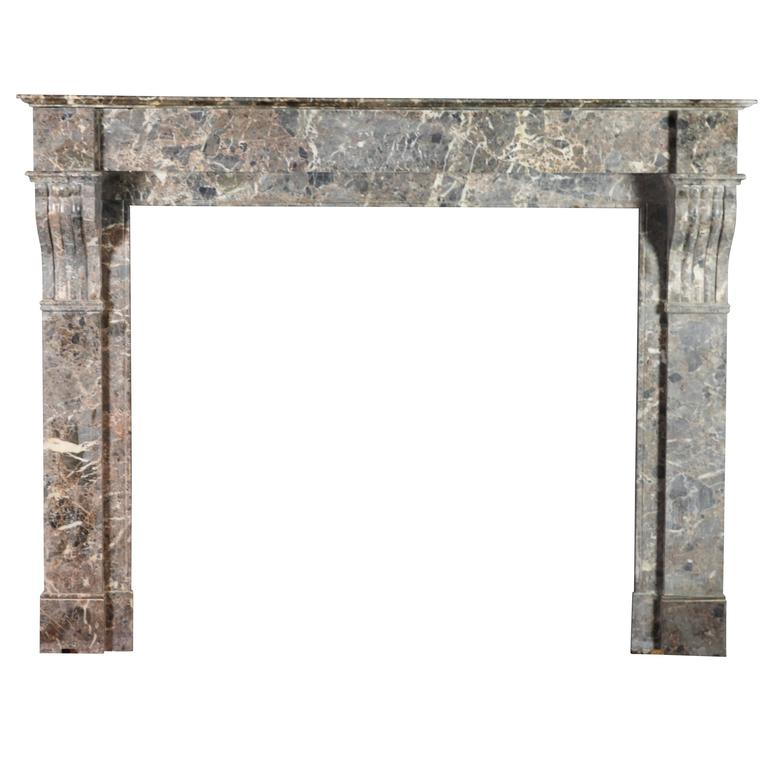 19th century original marble antique fireplace mantel for