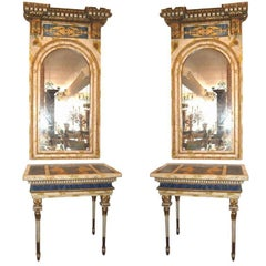 Pair of 18th Century Roman Consoles and Mirrors