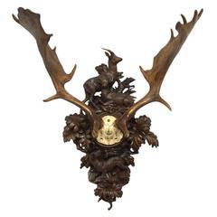 1892 Habsburg Fallow Deer on Black Forest Hunt Plaque